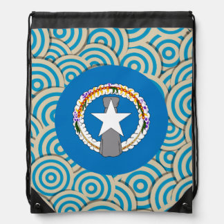 Fun Filled, Round flag of Northern Mariana Islands Drawstring Backpacks