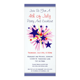 Fun Fireworks and Stars on White 4th of July Party 10 Cm X 24 Cm Invitation Card