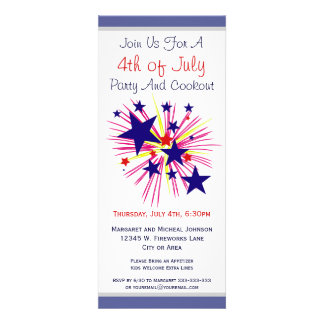 Fun Fireworks and Stars on White 4th of July Party Personalized Announcements