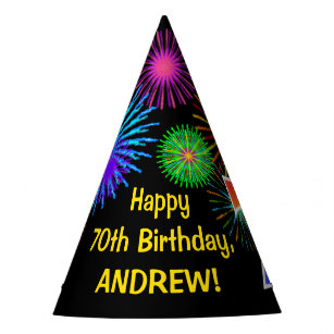 Fun Fireworks Rainbow Pattern 70 Birthday Party Hat