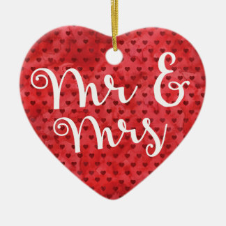 Fun First Married Christmas Mr and Mrs Gift Heart Christmas Ornament