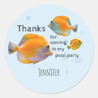 Fun Fish Children's Birthday Pool Party Thank You Classic Round Sticker