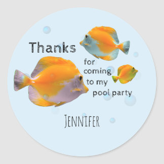 Fun Fish Children's Birthday Pool Party Thank You Round Sticker