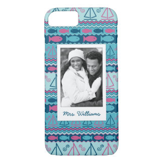 Fun Fish & Sailboat Pattern | Your Photo & Name iPhone 8/7 Case