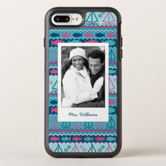 Fun Fish & Sailboat Pattern | Your Photo & Name OtterBox Symmetry iPhone 8 Plus/7 Plus Case