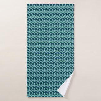 Fun fish scale blue and green graphic pattern bath towel