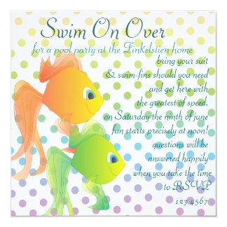 Fun Fishies! 13 Cm X 13 Cm Square Invitation Card