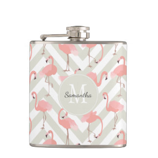 Fun Flamingo Pattern with Monogram Hip Flask