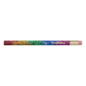 Fun & Flashy Rainbow Glitter + Name Colourful Kids Pencil