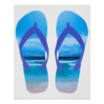 Fun Flip Flops Summer Beach Art for Vacation Poster