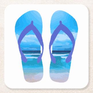 Fun Flip Flops Summer Beach Art for Vacation Square Paper Coaster