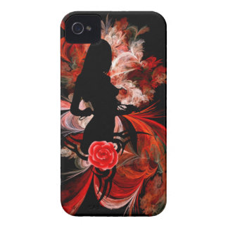 Fun flirty adult romantic woman on red iPhone 4 cover