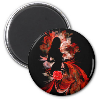 Fun flirty adult romantic woman on red magnet