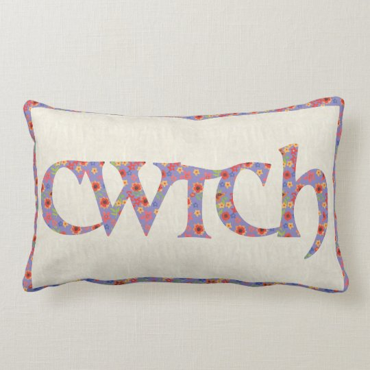 Fun Floral Lumbar Pillow, Welsh Cwtch Cushion