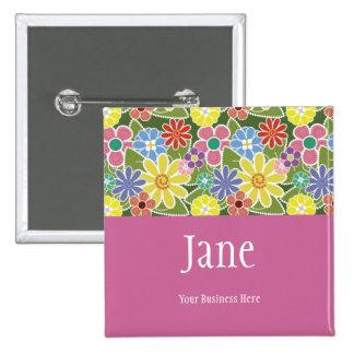 Fun Florals Bright Name Badge Button