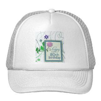 Fun flower happy 80th Birthday Cap