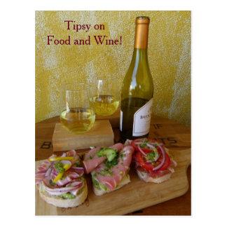 Fun Food and Wine Postcard! Postcard
