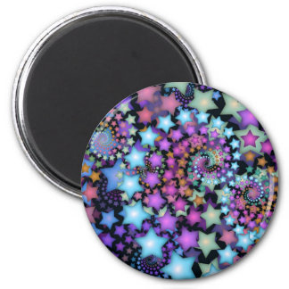 Fun Fractal Art Colorful Stars Magnet