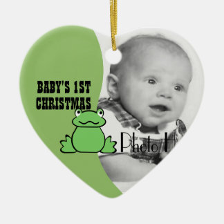 "Fun Frog ""Baby's First Christmas"" Photo Ceramic Heart Decoration"