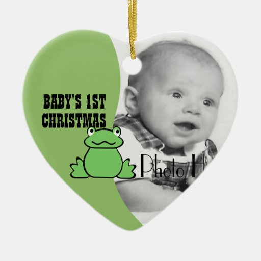 """Fun Frog """"Baby's First Christmas"""" Photo Ornaments"""