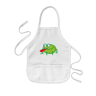 Fun Frog on White Kids Apron