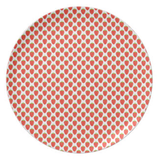 Fun Fruit Red Strawberry Pattern Plate