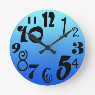 Fun funky numbers - electric blue gradient round clock