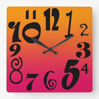 Fun funky numbers - hot red to orange gradient square wall clock