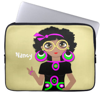 Fun Funky Psychedelic Hippy Chick Laptop Sleeve