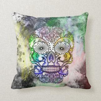 Fun Funky Rainbow Tattoo Sugar Skull Cushion