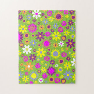 Fun Garden Flowers Colorful Floral Pattern Jigsaw Puzzle
