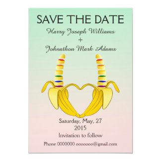Fun Gay Banana Heart Wedding Save The Date 13 Cm X 18 Cm Invitation Card