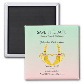 Fun Gay Banana Heart Wedding Save The Date 2 Inch Square Magnet