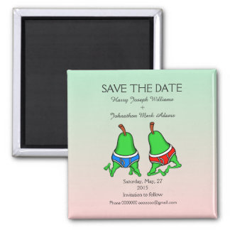 Fun Gay Pair Pear Save the Date Square Magnet