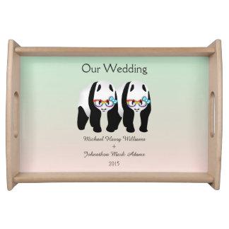 Fun Gay Panda Bears Wedding Keepsake Serving Tray