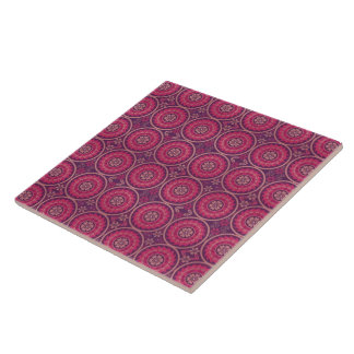 Fun Geometric Floral in Pink and Purple Tiles