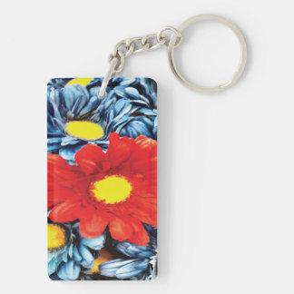 Fun Gerber Daisy Blue Orange Daisies Flower Double-Sided Rectangular Acrylic Keychain