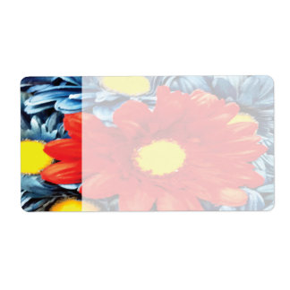 Fun Gerber Daisy Blue Orange Daisies Flower Shipping Label
