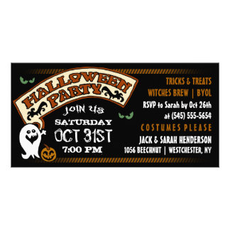 Fun Ghost Black & Orange Halloween Party Invite Personalized Photo Card