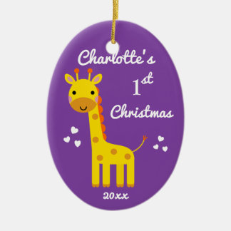 Fun Giraffe Baby's 1st First Christmas Gift Purple Christmas Ornament