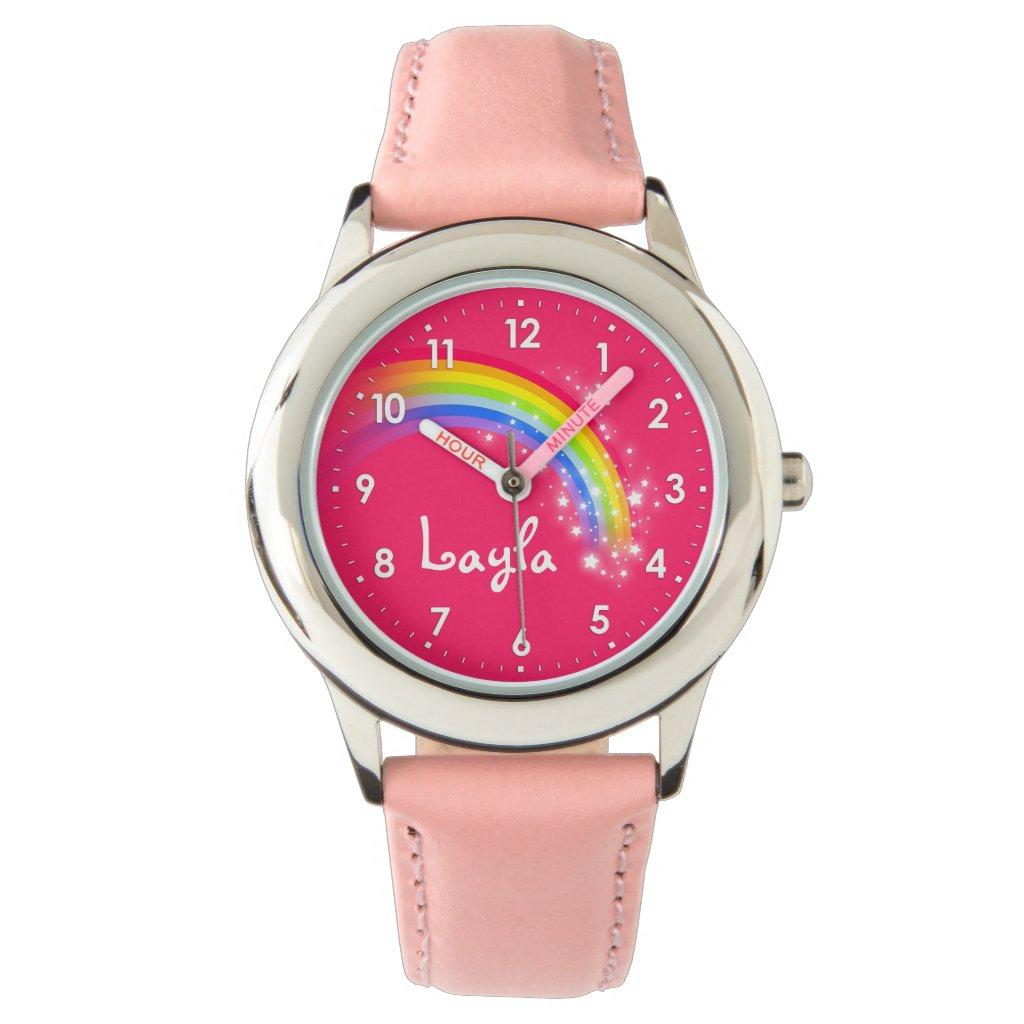 Fun girls rainbow red pink name wrist watch