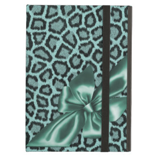 Fun Girly Aqua Leopard Print iPad Covers