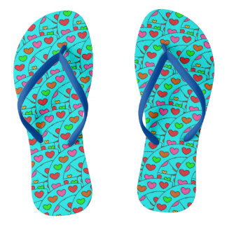 Fun Girly Hearts Pattern Turquoise Flip Flops