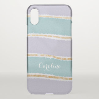 Fun Girly lavender teal gold with name iPhone X Case