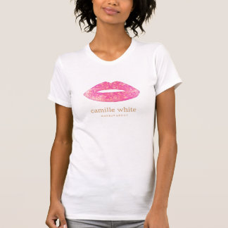 Fun Girly Makeup Artist Pink Sequin Lips T-Shirt