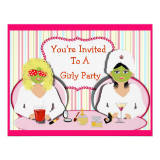 Fun Girly Pamper Party Theme Invitations