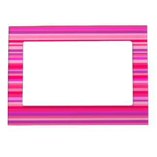 Fun, Girly Pink and Purple Stripes Pattern Magnetic Frame