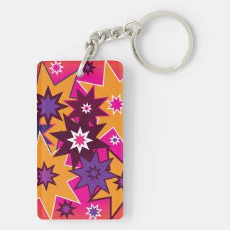 Fun Girly Star Pattern Pink Orange Purple Rectangular Acrylic Key Chains