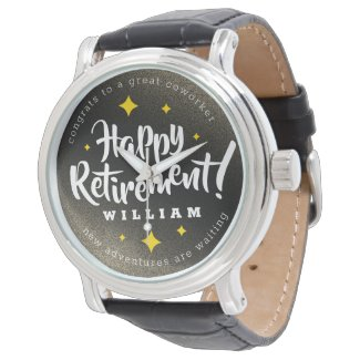 Fun Gold Glitter Stars Retirement New Adventures Watch