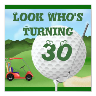 Fun Golf  30th Birthday Invitations TEMPLATE